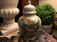"Small-Ginger Jar-Peacocks & Floral Pattern-6.5""H-Crackle Finish-Japan-LOOK!"