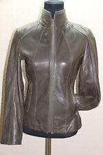 *NEW New Marc New York Lambskin Leather Jacket Brown Slim Cut Full Zip XS #764