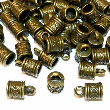 MX946p Antiqued Bronze 16mm Cord End Cap with Loop 6mm Inside Diameter 50pc