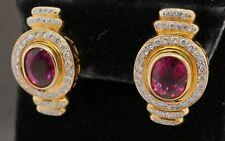 14K gold 7.76CTW VS diamond/10.2 X 8.1mm Pink tourmaline earrings