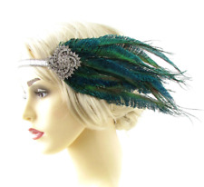 Silver Green Peacock Feather Headpiece 1920s Headband Flapper Great Gatsby 802