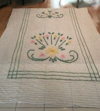 Vintage FLOWER PINK WHITE YELLOW COTTON  Chenille Bedspread 78 x 102""