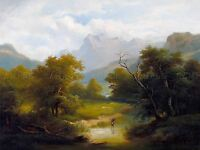 PAINTING LANDSCAPE MOUNTAIN LONE STICK COLLECTOR ART POSTER PRINT LV2648