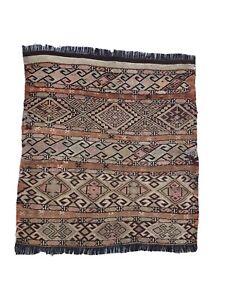 Antique Turkish Anatolian Kilim Rug, Boho Rug, Oriental Wool Rug,  3.2'x 2.9'