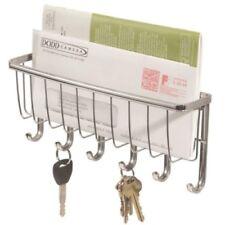 InterDesign York Lyra Wall Mount Mail and Key Rack Holder, Chrome