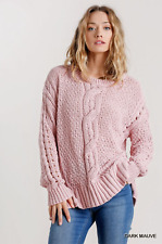 Umgee Mauve Cable-Knit Long Sleeve Pullover Sweater