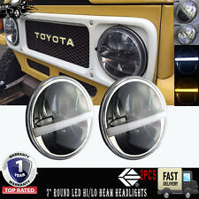 "7"" Round LED Headlights for Land Cruiser FJ40, Jeep CJ & Wrangler - Set of 2"