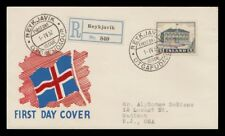 Iceland 1952 FDC, The Parliament Building, Registered. Lot # 3.