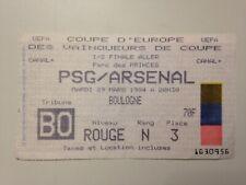 TICKET MATCH FOOTBALL PARIS PSG - ARSENAL 1/2 FINALE COUPE EUROPE 29 MARS 1994