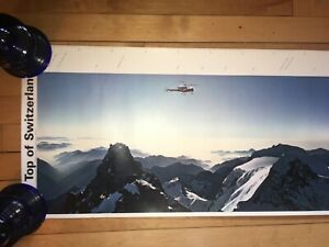 """Vtg Top of Switzerland Poster 360° Panorama Picture Emil Schulthess 14"""" x 100"""""""