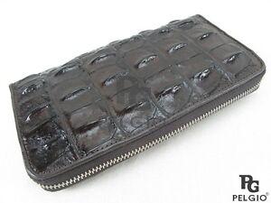 PELGIO Genuine Crocodile Backbone Skin Leather Zip Around Clutch Wallet Brown