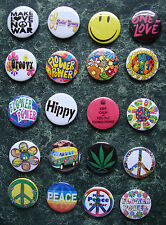 20 X FLOWER POWER SIXTIES 1 INCH BUTTON BADGES RETRO FANCY DRESS HIPPIE 1960S VW