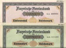 2er Set Stammaktien der Bayerischen Vereinsbank, 100 und 1000 RM entwertet