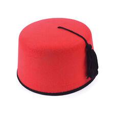 Mens Red Fez Tarboosh Hat Tommy Cooper Moroccan Turkish Fancy Dress Up Costume