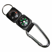 AU_ Multifunction Camping Mini Carabiner with Keychain Compass Thermometer Grace