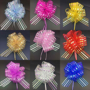 50mm Large Pom Pom Bow Organza Ribbon Pull Bows Wedding Party Decor Gift Wrap UK