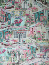 PARIS ROSES SCENE BICYCLE FRANCE PINK TEAL COTTON FABRIC FQ