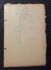 1940's Pin-Up Girl Pencil Art by Mimikos 7.5x11 G/VG 3.0 Blonde w/ Bow