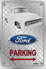 Parking Sign - Metal - Ford F100 - 1955 - 1956 - Custom - WHITE TRUCK