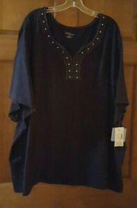 Catherines Plus for Liz and Me Size 5X Blue and Star Design Top - New with tags