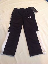Boys Youth Under Armour AllSeason Athletic Long Pants Polyester Black White NWT
