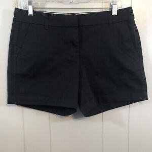 "J. Crew 5"" Short Black 100% Cotton Mid Rise Zip Pockets Chino Shorts 6 NEW"