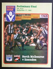1983 Preliminary final North Melbourne v Essendon Football Record