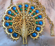 FS STUNNING Vtg GOLD CROWN SIGNED HUGE PEACOCK NECKLACE w MIRRORED Rhinestones