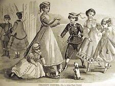 CHILDREN'S FASHION COSTUME BOYS & GIRLS 1868 Art Matted
