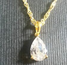 PE 13 18ct gold filled pendant & chain - white pear sapphire Plum UK GIFT BOXED.