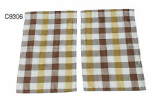 Westfalia Side Curtain VW T2 Split Screen Yellow White Brown Cheque C9306