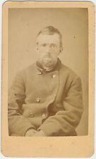 ANTIQUE CDV PHOTO CIVIL WAR SOLDIER? ENOS HALE IN PENCIL BEARDED MAN PEAS COAT