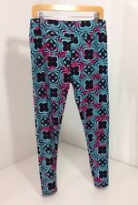 LULAROE WOMEN'S LEGGING KALEIDOSCOPE BABY BLUE/BLK/PINK TALL & CURVY NEW