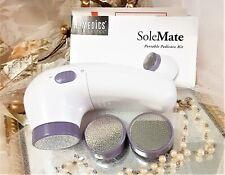 New Avon Pedicure Kit Set Solemate Portable Fine Medium Coarse Attachments Nib!