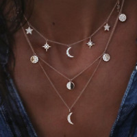 Multilayer Gold Silver Plated Crystal Moon Star Pendant Choker Necklace Jewelry