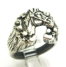 Mens Horse Wreath Signet Sterling Silver 925 Ring 13g Sz.8 DWK735
