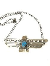 Handmade Navajo Thunderbird Necklace. Native American Sterling Silver