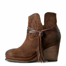 Ariat Women's   Memphis Wedge Ankle Bootie Rustic Ginger Full Grain Leather Size
