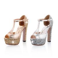 Womens Open Toes Shoes Platform High Heels T-Strap Pumps Sandals AU Size s192