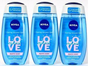 (3 Pack) Nivea Love Splash Aquatic Scent Sea Minerals Caring Shower Gel 8.45 Oz