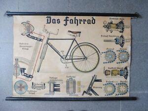 alte Rollkarte Schulwandtafel Schulkarte Das Fahrrad 101x67cm
