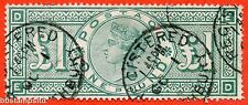 """SG. 212. K17. £1.00 Green """" ED """". A Very fine used example."""