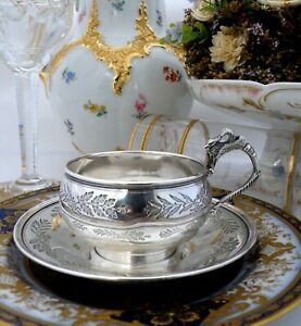 Antique French Sterling Silver Cup and Saucer Fabulous engraved decor