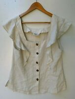 JEANSWEST beige linen blend frill sleeveless top button up blouse size 14