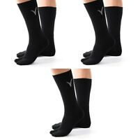 3 Pairs V-Toe Black Athletic Flip-Flop Big Toe Tabi Crew Socks Thicker Men Women