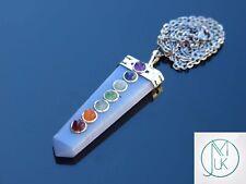 Angelite 7 Chakra Flat Natural Gemstone Pendant Necklace 50cm Healing Stone
