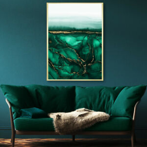 Green & Gold Abstract Wall Art Watercolour Painting Print Poster A4 A3 A2 A1