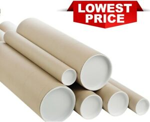 "Cardboard Postal Tubes With Plastic End Caps A0 A1 A2 A3/A4 49.5MM 2"" 75.5MM 3"""