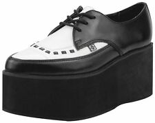 T.U.K. A8665 Tuk Black & White Eva Leather Pointed Stacked Creepers Tuxedo High