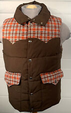 Vtg Cowboy Western Vest Puffer Brown Plaid 70's Rockabilly Sprung Canada Snaps
